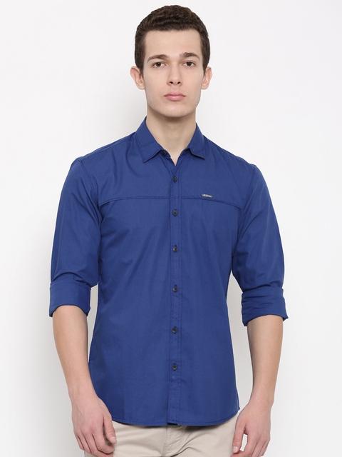 Wrangler Men Blue Slim Fit Solid Casual Shirt