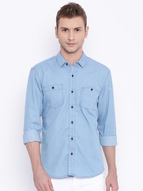 Wrangler Blue Slim Fit Solid Casual Denim Shirt