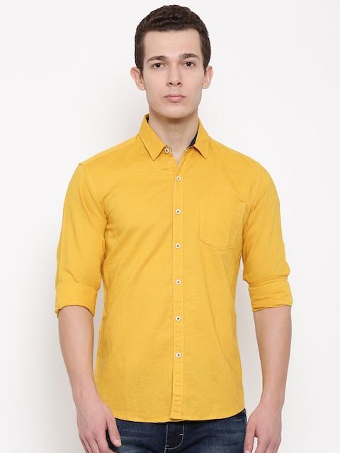 Wrangler Men Mustard Yellow Slim Fit Solid Casual Shirt