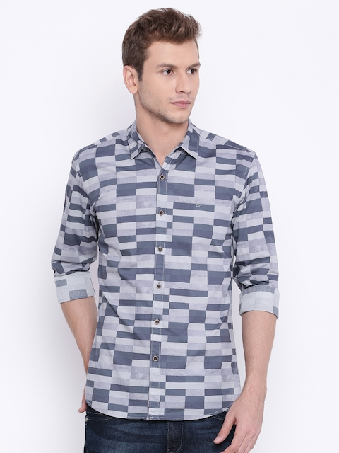 Wrangler Men Grey Slim Fit Printed Casual Shirt  available at myntra for Rs.798