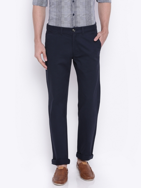Wrangler Men Navy Blue Slim Fit Chino Trousers