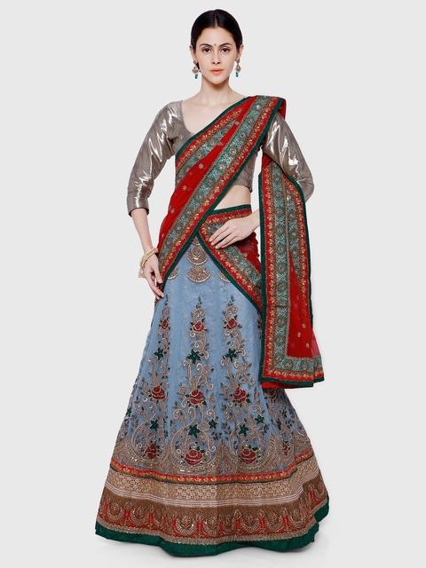 RIYA Blue & Maroon Embroidered Net Semi-Stitched Lehenga Choli with Dupatta