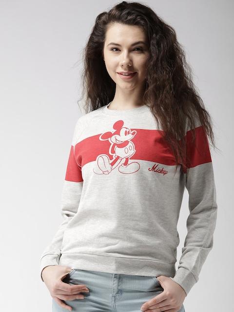 FOREVER 21 Women Grey Melange & Red Printed Sweatshirt