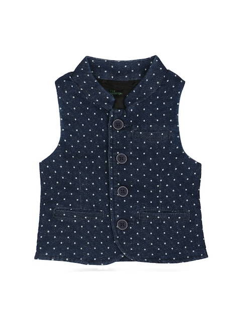 United Colors of Benetton Boys Navy Self-Design Denim Waistcoat