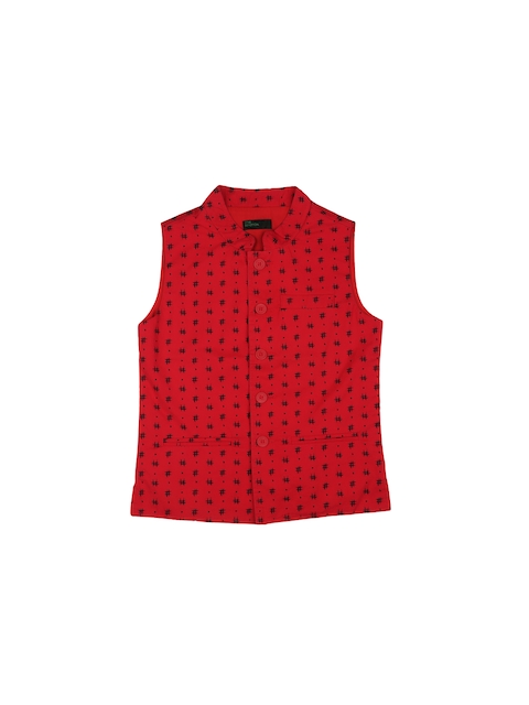 United Colors of Benetton Boys Red & Black Printed Nehru Jacket