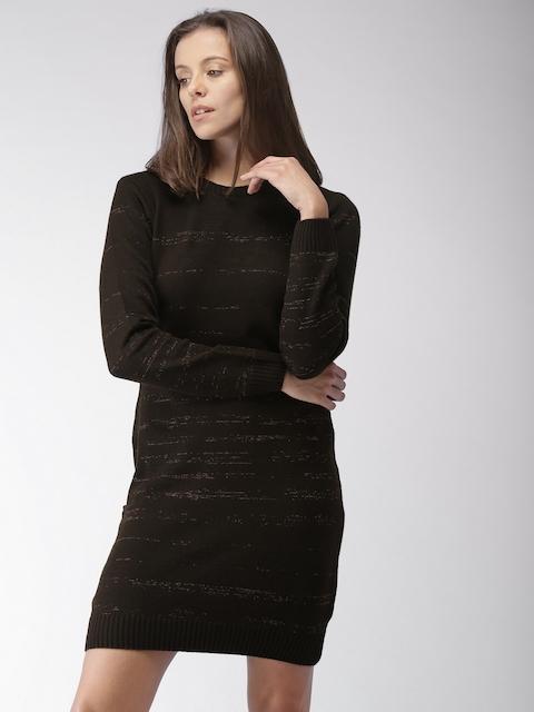 Mast & Harbour Women Brown Self Design Sweater Dress