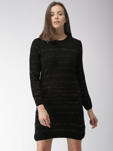 Mast & Harbour Women Black Self Design Sweater Dress