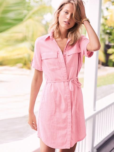 next Pink Solid Shirt Dress