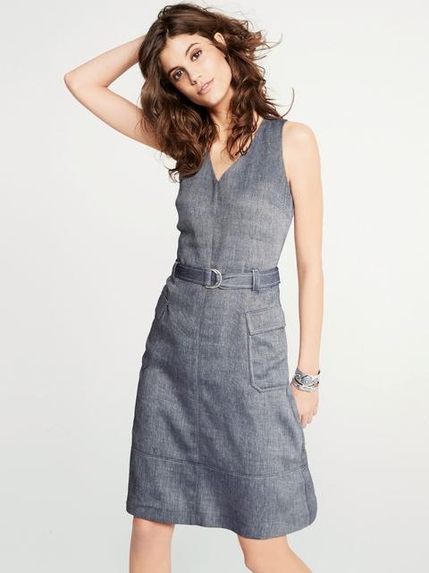 next Blue Solid A-Line Dress