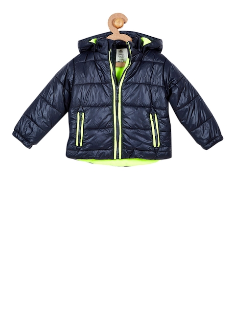Cherry Crumble Girls Navy Solid Lightweight Puffer Jacket with Detachable Hood
