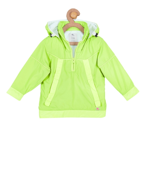 Cherry Crumble Girls Lime Green Solid Lightweight Hooded Windcheater Jacket