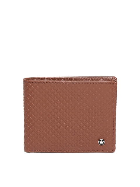 Louis Philippe Men Brown Textured Genuine Leather Two Fold Wallet