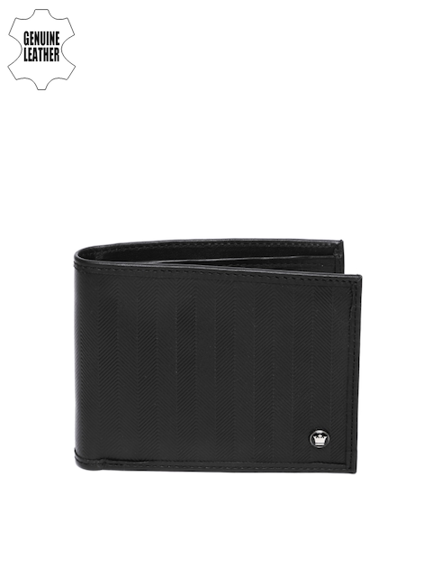 Louis Philippe Men Black Textured Genuine Leather Twofold Wallet