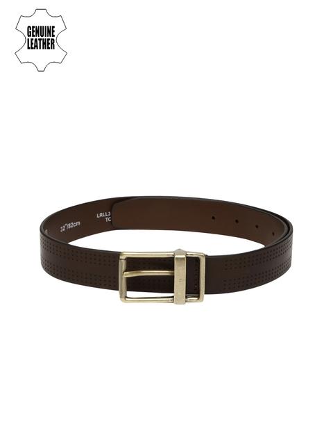 Louis Philippe Men Brown Textured Genuine Leather Belt