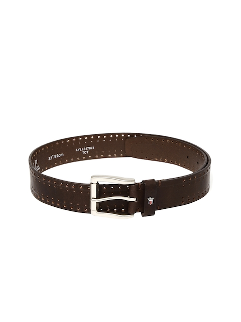 Louis Philippe Men Brown Belt with Cut-Outs