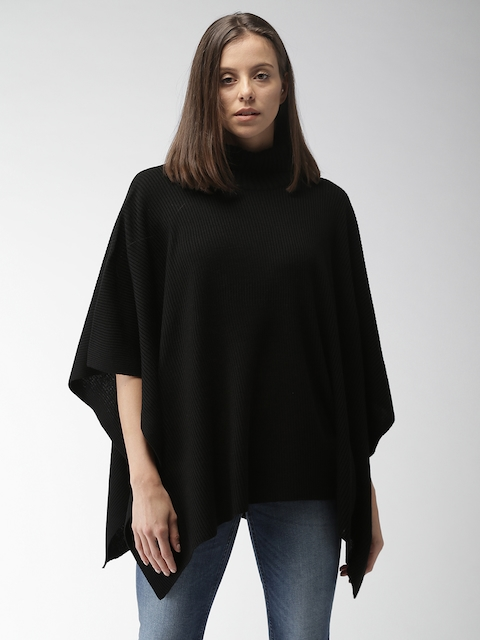 Mast & Harbour Women Black Self Design Poncho