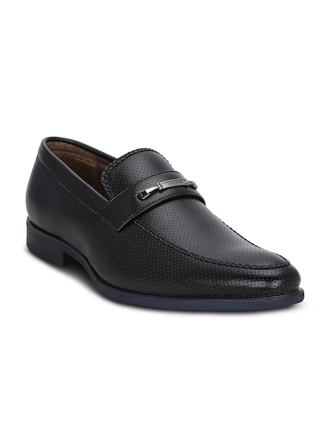 Get Glamr Men Black Textured Semiformal Slip-Ons