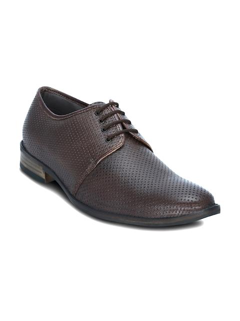 Get Glamr Men Brown Textured Leather Semiformal Shoes
