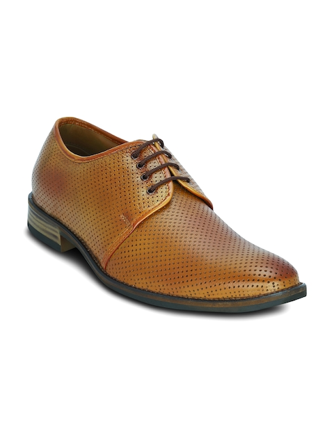 Get Glamr Men Tan Brown Textured Leather Semiformal Shoes