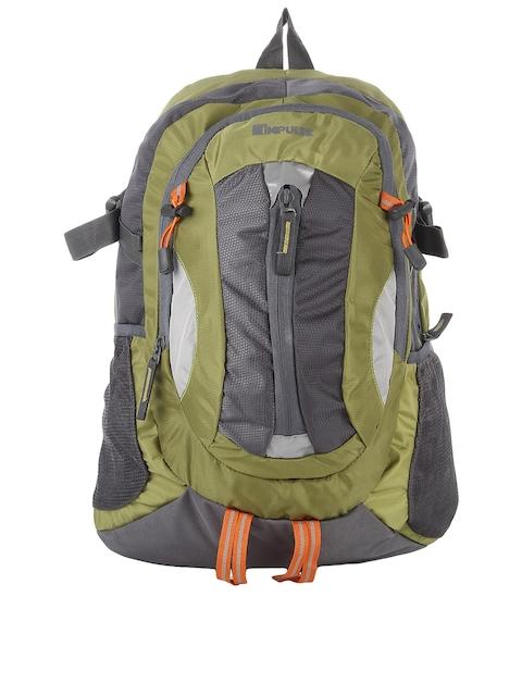 Impulse Unisex Olive Green & Grey Colourblocked Textured Backpack