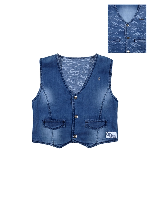 Gini and Jony Boys Blue Printed Reversible Waistcoat