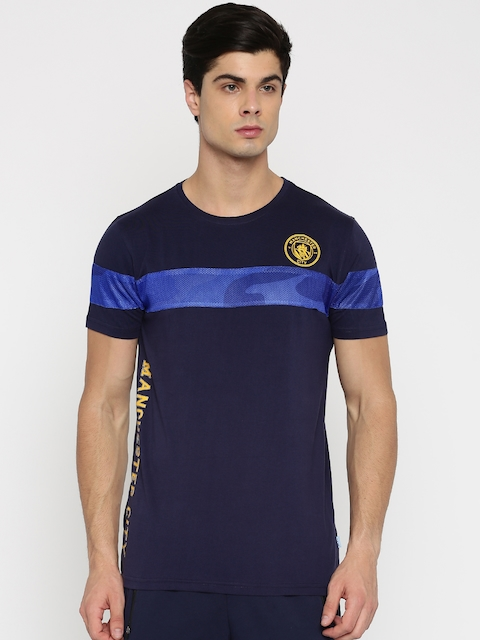 Manchester City FC Men Navy Blue Solid Round Neck T-shirt