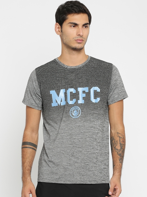 Manchester City FC Men Grey Printed Round Neck T-shirt