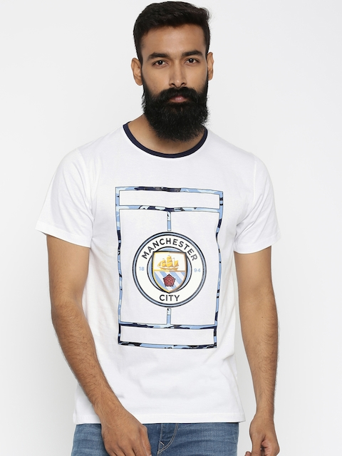 Manchester City FC White Printed T-shirt