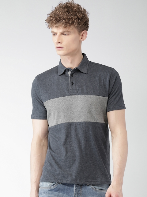 Aeropostale Men Navy & Grey Melange Solid Polo Collar T-shirt
