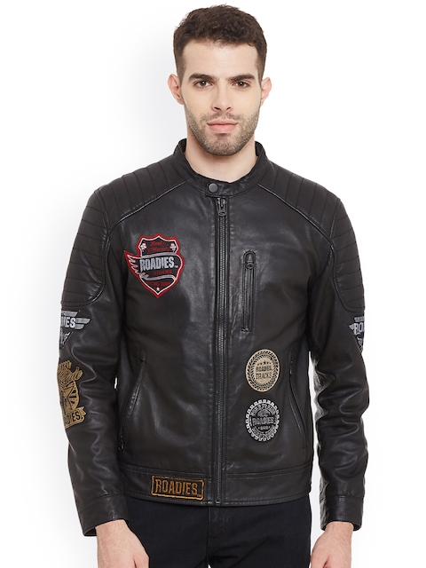 Justanned Roadies Men Black Solid Leather Biker Jacket