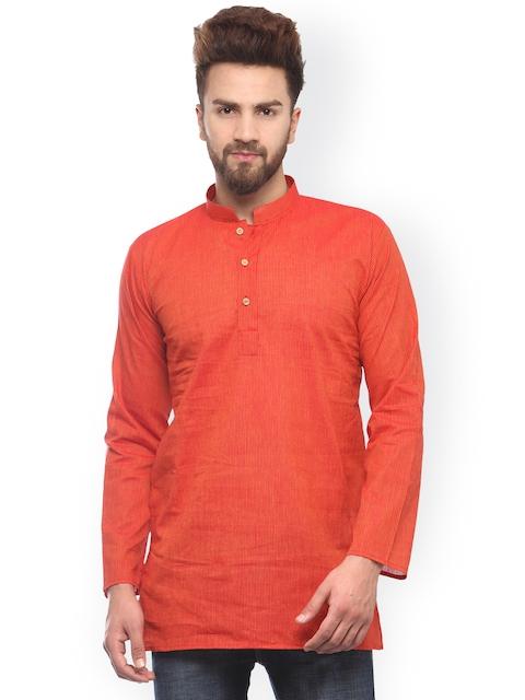 JAINISH Men Red & Orange Striped Straight Kurta  available at myntra for Rs.399
