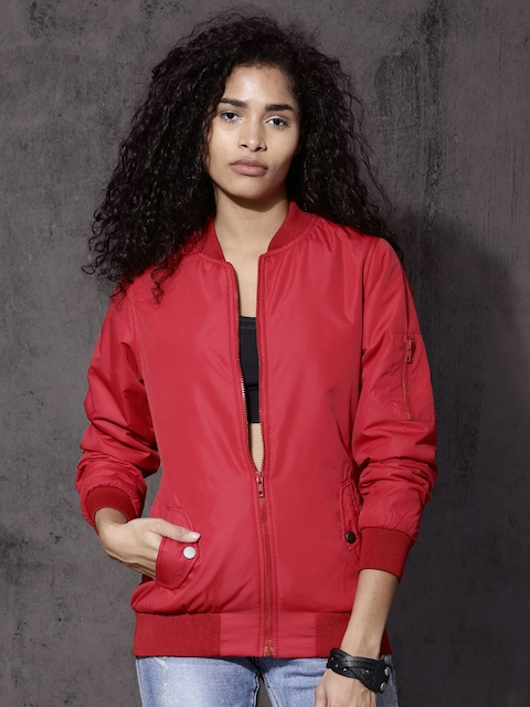 Roadster Women Red Solid Bomber