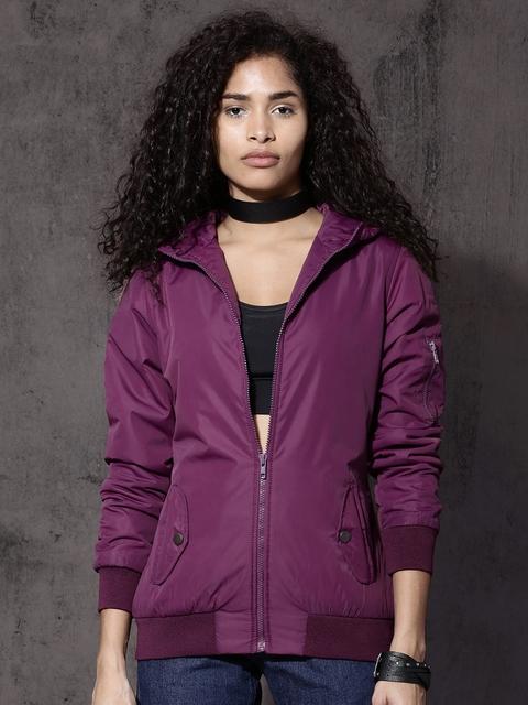 Roadster Women Purple Solid Hooded Bomber