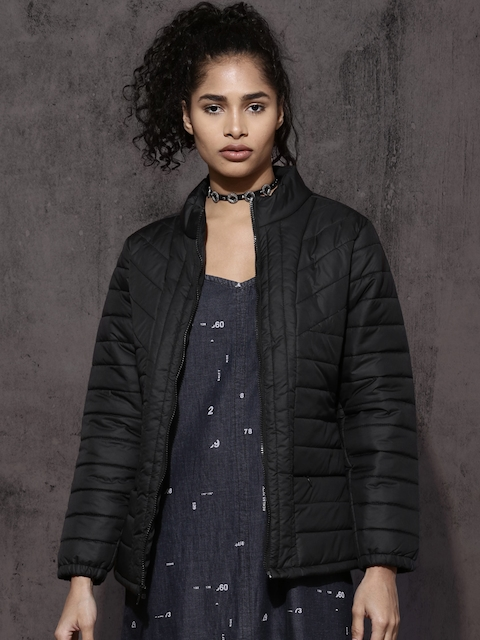 Roadster Women Black Solid Padded Jacket
