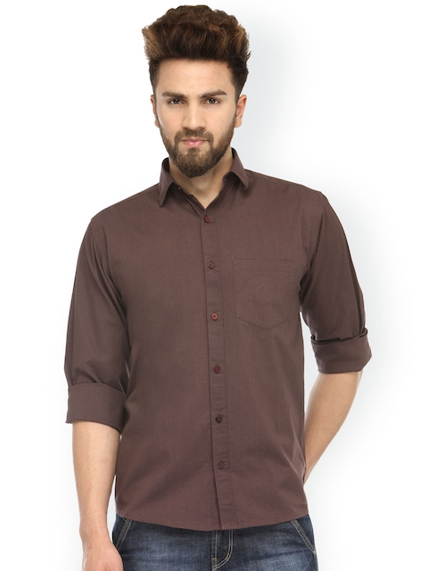 JAINISH Men Coffee Brown Regular Fit Solid Casual Shirt  available at myntra for Rs.382