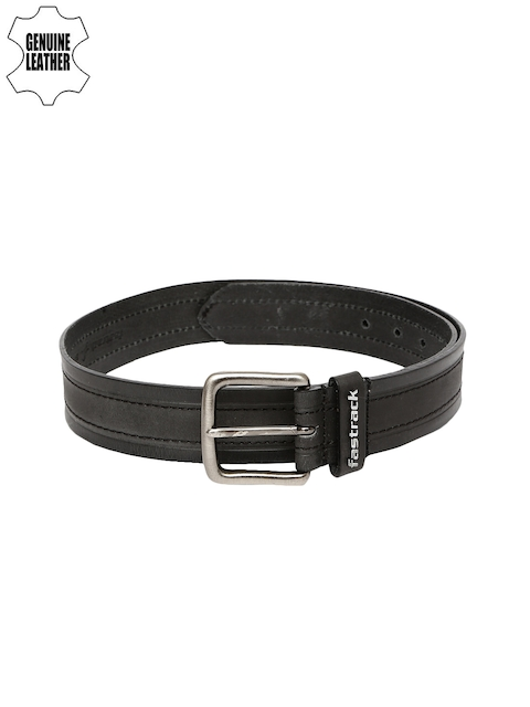 Fastrack Men Black Genuine Leather Belt