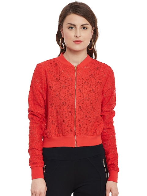 Kazo Women Red Lace Lightweight Tailored Jacket