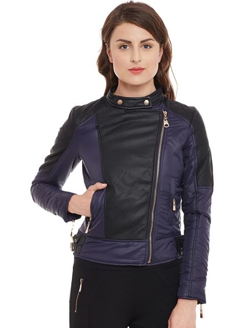 Kazo Women Black Colourblocked Insulator Biker Jacket