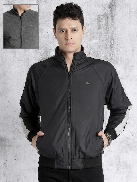 Roadster Men Black Solid Reversible Bomber