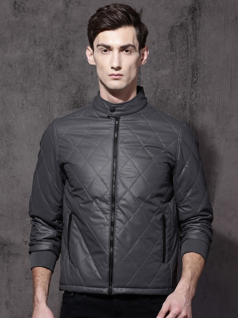 Roadster Men Grey Self-Design Quilted Jacket