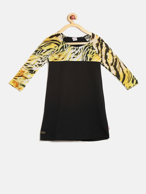 Lil Orchids Girls Black Animal Print A-Line Dress  available at myntra for Rs.399