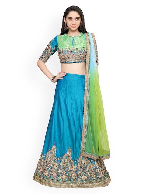 RIYA Blue & Green Embroidered Lehenga Choli with Dupatta