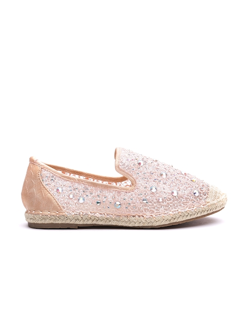 Carlton London Women Peach-Coloured Embellished Espadrilles