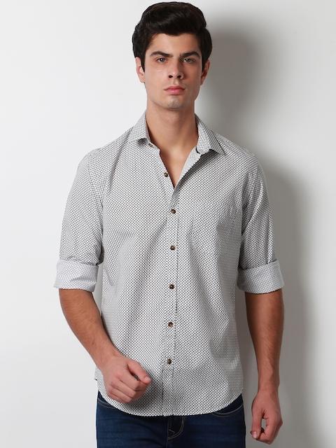 Peter England Men Grey Slim Fit Printed Casual Shirt