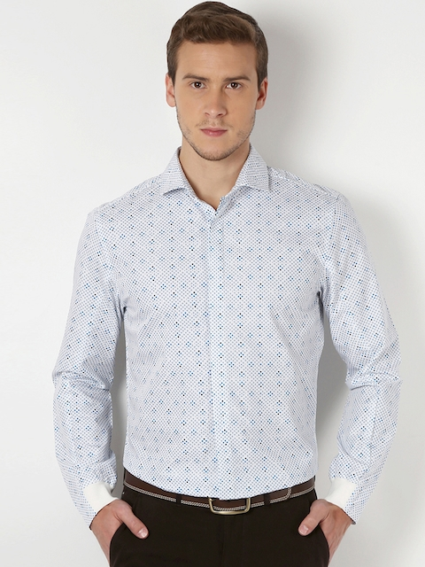 Peter England Men Blue & White Slim Fit Printed Casual Shirt