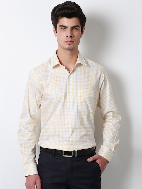 Peter England Men Yellow & White Slim Fit Checked Formal Shirt