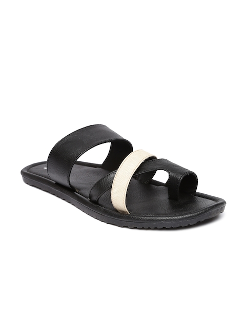 Footin Men Black & Off-White Colourblocked Sandals