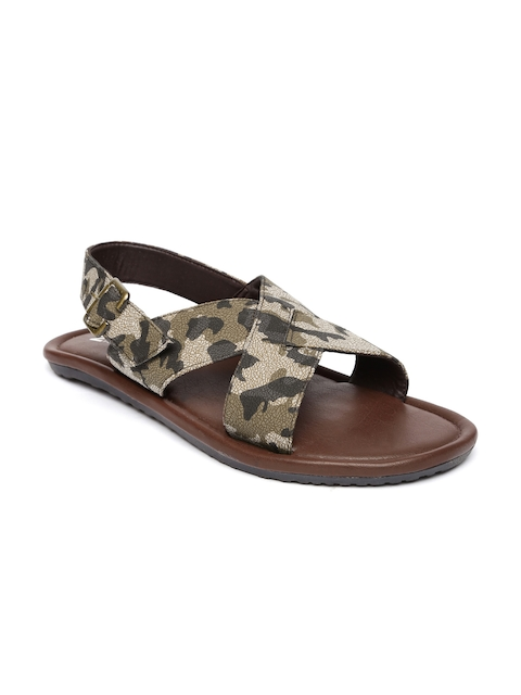 Footin - - Footin Men Olive Green & Charcoal Grey Printed Sandals