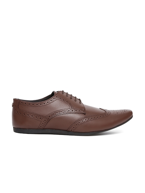 Carlton London Men Brown Leather Semiformal Brogues
