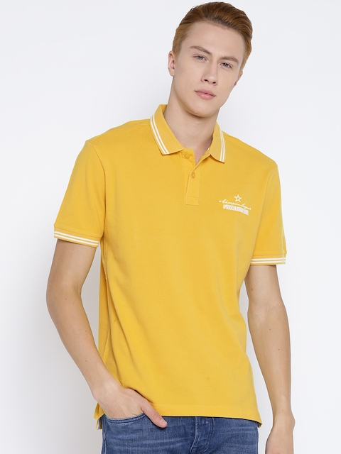 John Players Men Yellow Solid Polo Collar T-shirt